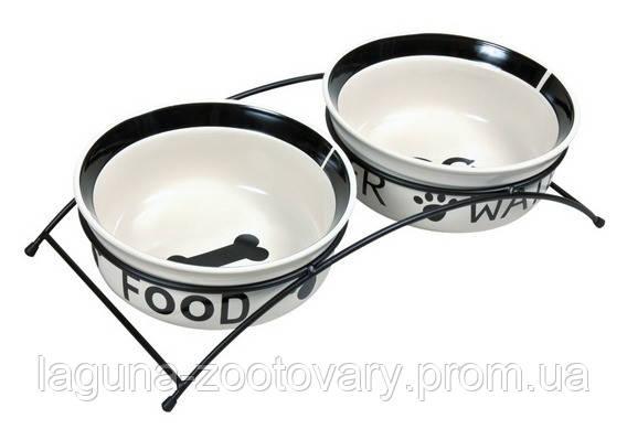 *2 Миски(керамика) на подставке(металл) 0,6л для собак/кошек