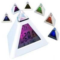 """Часы метеостанция """"Светящаяся пирамида"""" 7 цветов"""