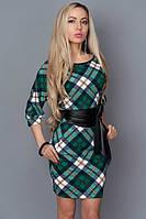 Платье футляр в клетку с кожаным поясом