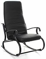 Кресло качалка, металлический каркас, темная кожа