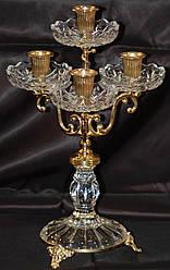 Подсвечник на 4 свечи с позолотой