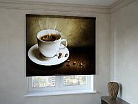 Рулонные шторы с фотопечатью чашка ароматного кофе