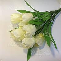 Тюльпаны искусственные БЕЛО-КРЕМОВЫЕ, букет 9 шт. , фото 1