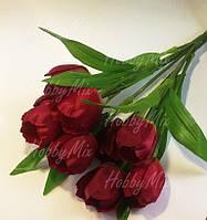 Тюльпаны искусственные ТЕМНО КРАСНЫЕ, 9 шт. (букет)