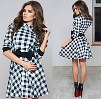 Платье молодёжное № 1046 клетка (kux), фото 1