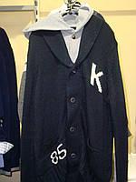 """Верх зима кардиган кофта вязанная с серым капюшоном с буквой """"К"""" на пуговицах с карманами М кофта синяя,капюшо"""