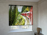 Рулонные шторы с фотопечатью красный поезд