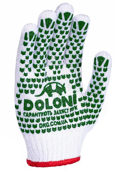 Перчатки рабочие DOLONI  с ПВХ с двух сторон (отбеленая)