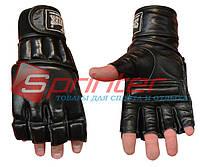 Перчатки для рукопашного боя кожаные L (чёрный)  58-69