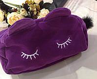 Косметичка спящий котик фиолетовая