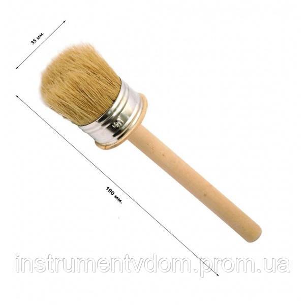 Кисть деревянная круглая 35 мм (набор 10 шт)