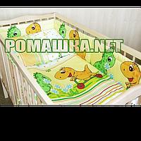"""Защита (ограждение, бортики, охранка, бампер) 360х35 см """"Динозавры"""" на всю кроватку из двух частей, Желтый"""