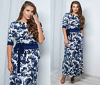 Платье макси Цветы  № 1037 батал (kux)