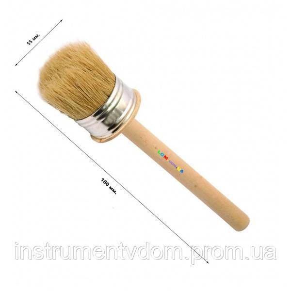 Кисть деревянная круглая 55 мм (набор 10 шт)