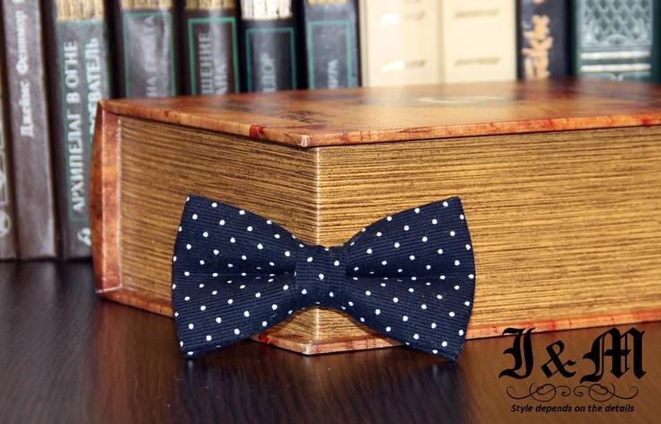 Галстук-бабочка I&M Craft синий в горошек (010517) , фото 2