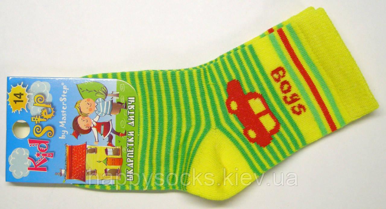 Мальчиковые носки желтые машинка