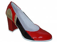 Женские туфли-лодочки на высоком каблуке, натуральная лаковая кожа