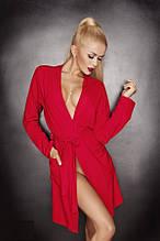 Халат з довгими рукавами DKaren Ines червоного кольору