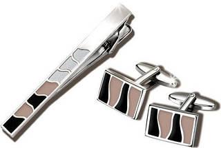 Элегантный комплект заколка для галстука и запонки S.Quire EG-17343