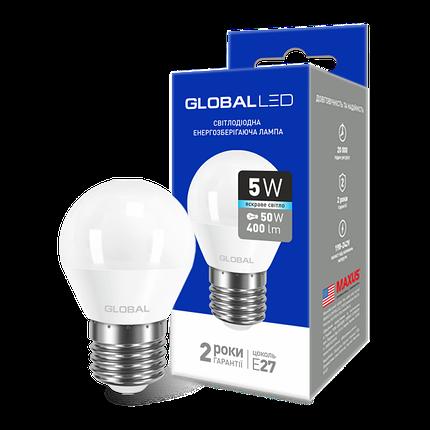 LED лампа GLOBAL G45 F 5W яркий свет 220V E27 AP (1-GBL-142) (NEW), фото 2