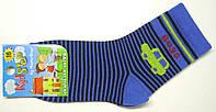 Носки детские в полоску с машинкой синего цвета, фото 1