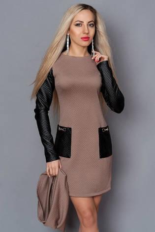 Платье с кожаными рукавами и шарфом, фото 2