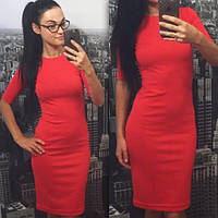Женское платье миди красное