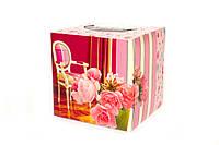Сухие салфекти в коробке Ebelin цветы 2 слоя, 100 шт