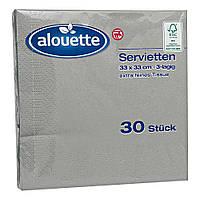 Сухие салфетки столовые Alouette серые, 30 шт