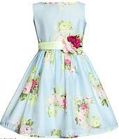 Платье нарядное для девочки на поясе с цветком 122 см