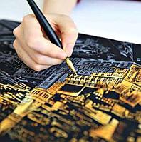 Скретч-картина Ночной Париж / Картина гравюра, фото 1