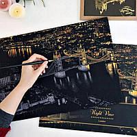Скретч-картина Ночной Лондон / Картина гравюра, фото 1