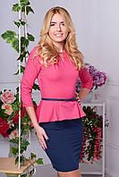 Платье с баской  женское Лана, розового цвета