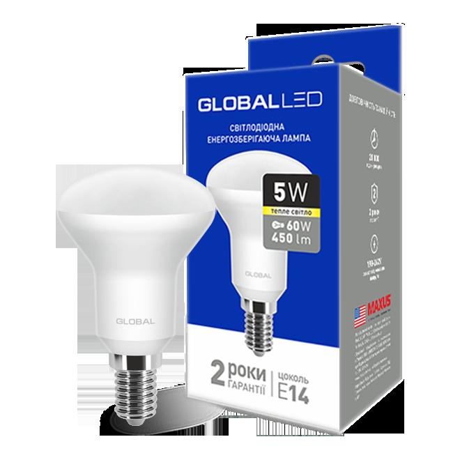 LED лампа GLOBAL R50 5W мягкий свет 220V E14 (1-GBL-153) (NEW)