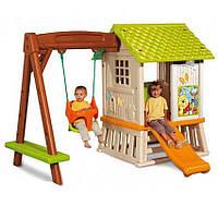Детский игровой комплекс: горка, качели, домик Винни