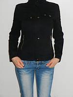 Стильная куртка-пиджак женская коттоновая черная Holdluck 1187 размер S, XL