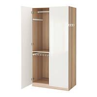 """IKEA """"ПАКС"""" Шкаф платяной,  под беленый дуб, ФАРДАЛЬ глянцевый белый, 100x60x201 см"""
