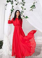 Платье Макси Шифон в пол Лёгкое Открытые Плечи Резинка на Талии