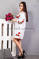 Вышитое красивое женское платье Маки., фото 1