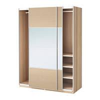 """IKEA """"ПАКС"""" Шкаф с раздвижными дверями, беленый дуб, АУЛИ зеркальное стекло, ИЛЬСЕНГ дубовый шпон, беленый 150x66x201 см"""
