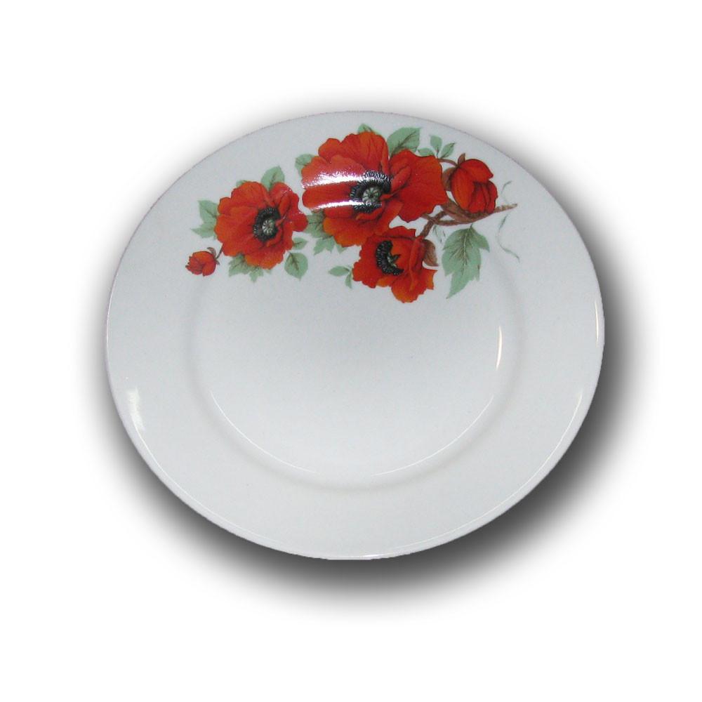 Тарелка фарфоровая 200мм. Мак кубанский