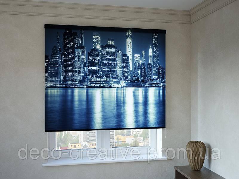 Рулонные шторы с фотопечатью свет Нью-Йорка в воде