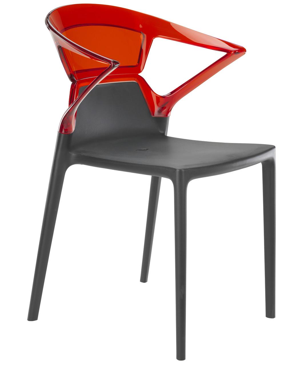 Кресло Ego-K сиденье Антрацит верх Прозрачно-красный (Papatya-TM)