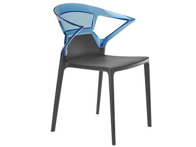 Кресло Ego-K сиденье Антрацит верх Прозрачно-синий (Papatya-TM)