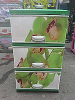 Комод пластиковый элиф цветы(2) на 3 ящика