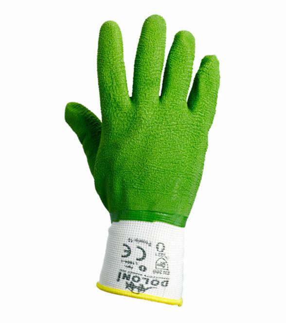 Перчатки  DOLONI  нейлоновые (вспененный зелёный латекс)