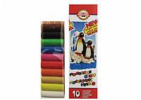 "Пластилин KOH-I-NOOR ""Пингвины"", 10 цветов,  карт.уп. 200г."