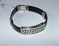 Серебряный браслет на каучуковой основе Мачо