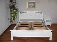 """Кровать белая с мягким изголовьем """"Миледи"""". Массив - сосна, ольха, дуб."""
