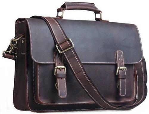 """Винтажный мужской кожаный портфель для ноутбука 14"""" Tiding t1099"""